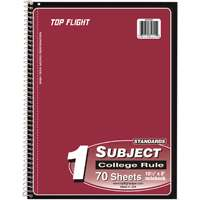 Top Flight WB705/PFW Wirebound Note Book, 10-1/2 in L X 8 in W, 70 Sheet, Assorted