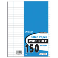Top Flight 150P Wide Rule Filler Paper, 10-1/2 X 8 in Sheet, 150 Sheet