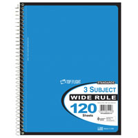 Top Flight WB120/DPF Wide Rule Wirebound Note Book, 10-1/2 in L X 8 in W, 120 Sheet, Assorted