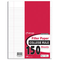 Top Flight 155P College Rule Filler Paper, 10-1/2 X 8 in Sheet, 150 Sheet