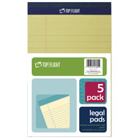 Top Flight 8105/5 Legal Pad, 8 in L x 5 in W, 50 Sheet, Canary Yellow