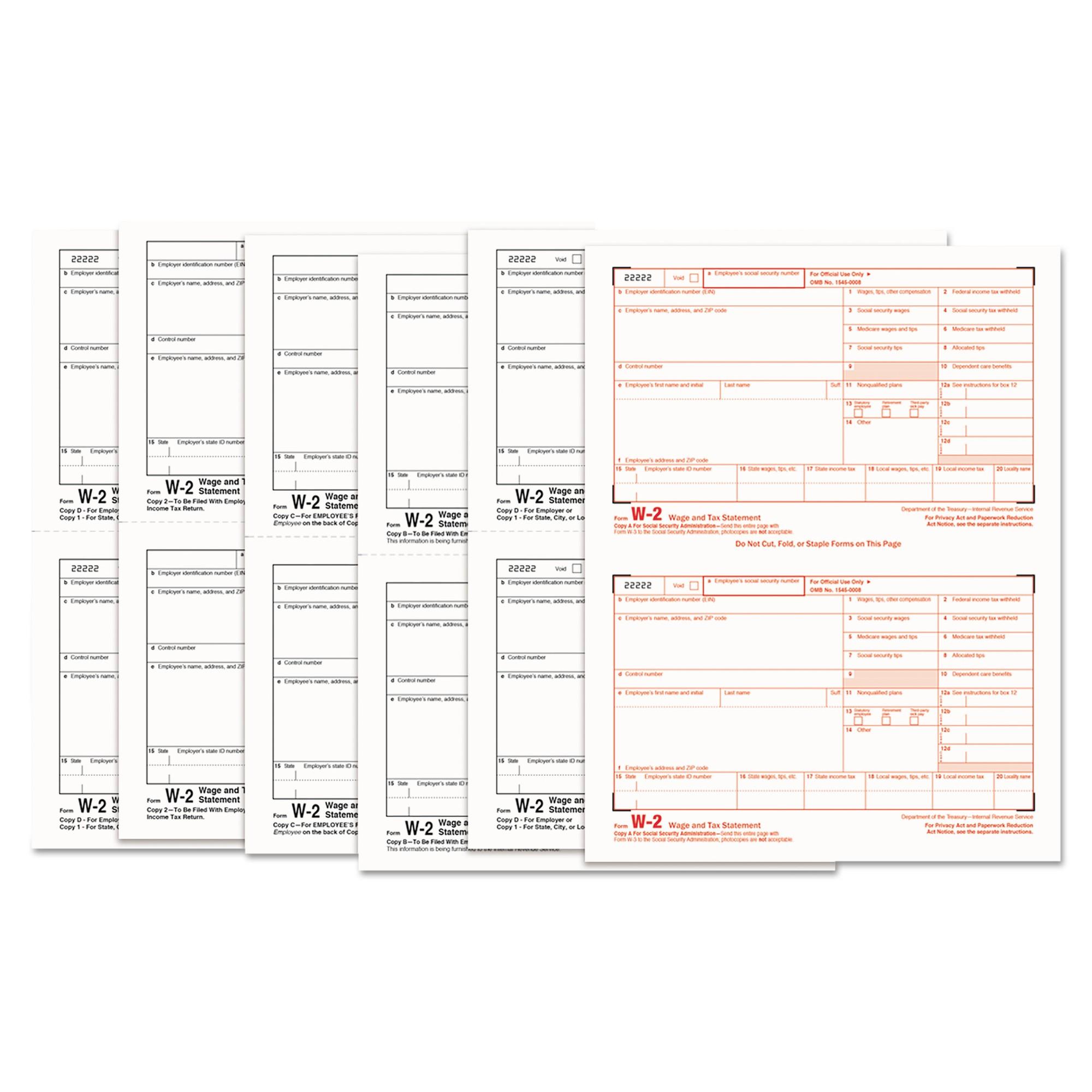 W-2 Tax Forms, 6-Part, 5 1/2 x 8 1/2, Inkjet/Laser, 50 W-2s & 1 W-3