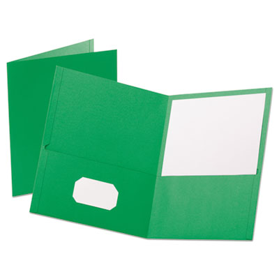 "Leatherette Two Pocket Portfolio, 8 1/2"" x 11"", Green, 10/PK"