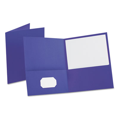 "Leatherette Two Pocket Portfolio, 8 1/2"" x 11"", Purple, 10/PK"