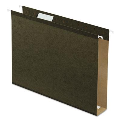 "2"" Extra Cap. Hanging File Folder w/Box Bottom, Letter, 1/5 Tab, Green, 25/Box"