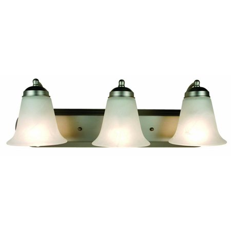 Bel-Air Contemporary Bath Bar Light, Brushed Nickel Housing, Marbleized Glass Shade, 3 Lamps, 100 W Medium