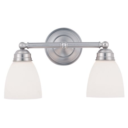 Bel-Air Traditional Circle Bath Bar Light, Brushed Nickel Housing, Frosted Glass Shade, 2 Lamps, 100 W Medium