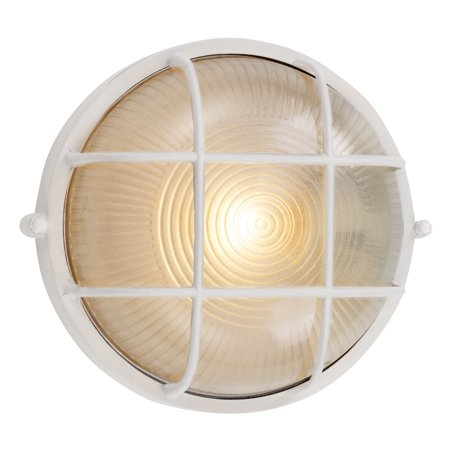 Bel-Air CB-41505 WH Round Bulkhead Wall Mount Fixture, 60 W, 1 Lamp