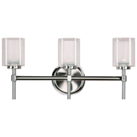 Bel-Air CB-60005 Double Bath Bar Light, Brushed Nickel Housing, Frosted Glass Shade, 3 Lamps, 60 W G9 Halogen Lamp