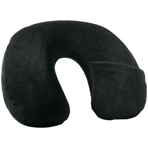 Travel Smart TS22N Inflatable Fleece Neck Rest (Black)