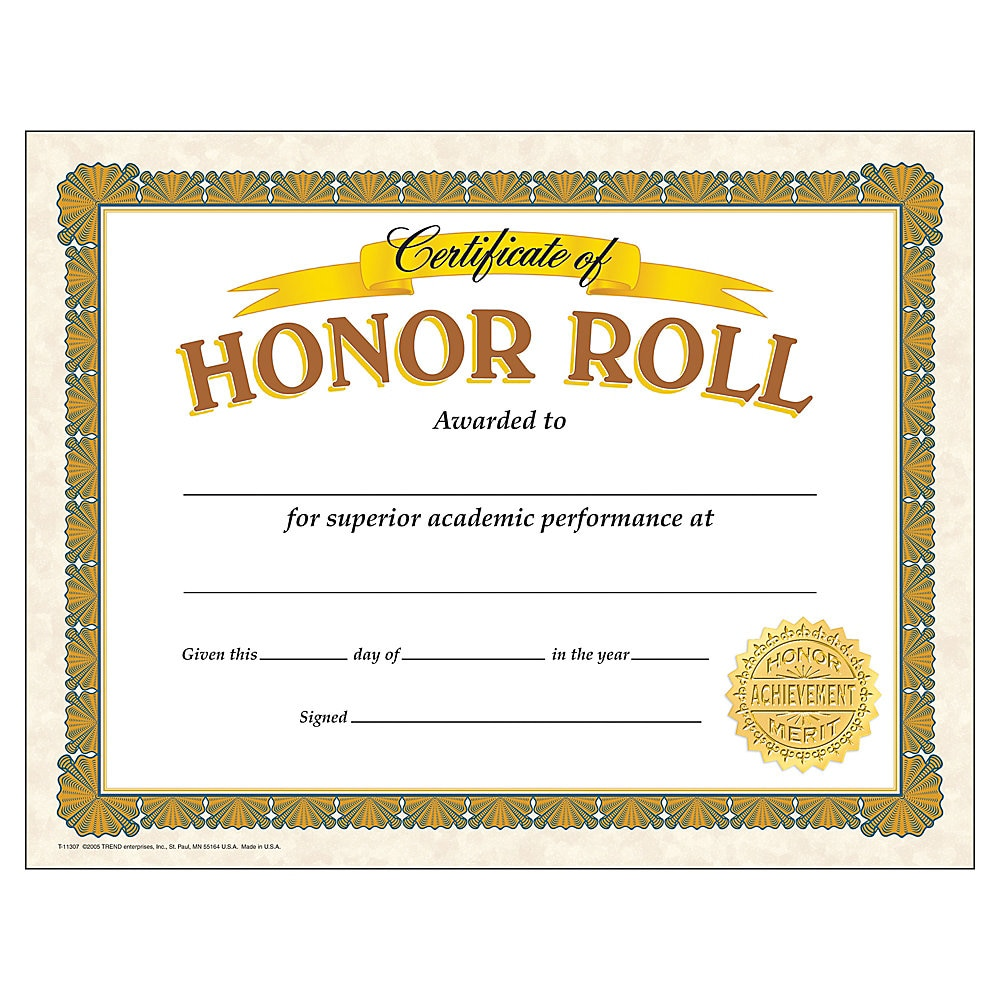 Awards and Certificates, Honor Roll, 8 1/2 x 11, White/Brown/Gold
