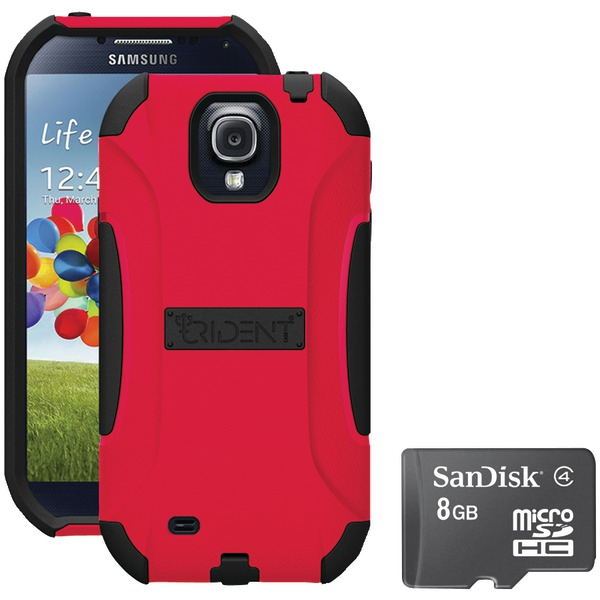 Trident S4 Aegis Case Red With Sandisk Micro Sd 8gb