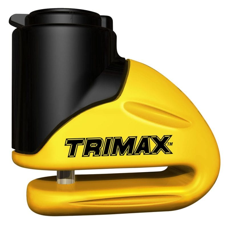 Trimax Hard Metal Disc Lock Yellow 5.5Mm Pin W/Pouch & Reminder Cable