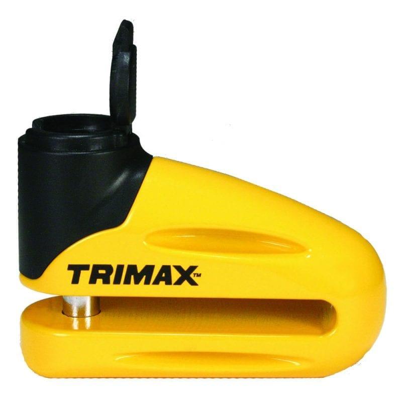 Trimax Hard Metal Disc Lock Yellow 10mm Pin Long Throat & Reminder Cable