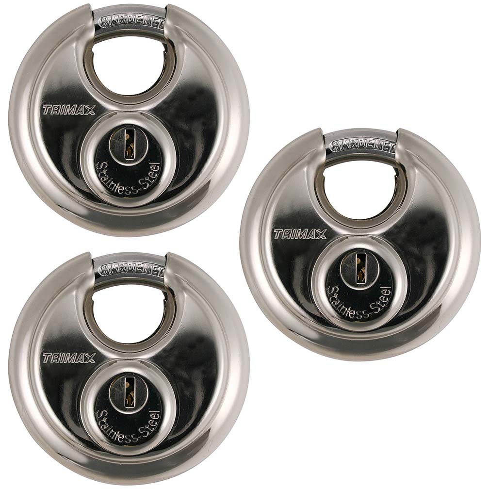 Trimax Stainless 70Mm Round Padlock W/10Mm Shackle 3 Pack Keyed Alike