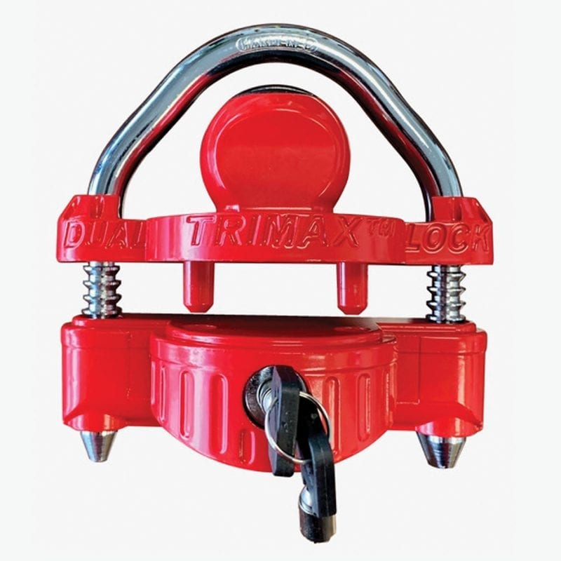 Trimax Univ Dc Dual Locking Narrow Red Coupler Lock 1/2 Steel Shackle