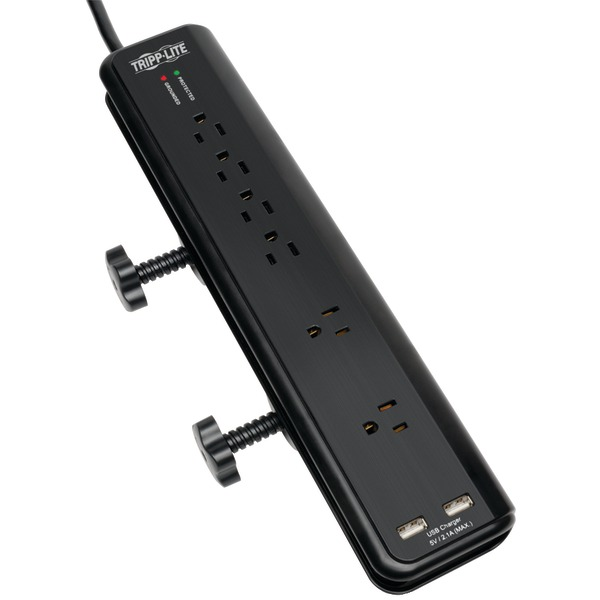 TRIPP LITE TLP606DMUSB 6-Outlet Surge Protector with Clamps & 2 USB Ports