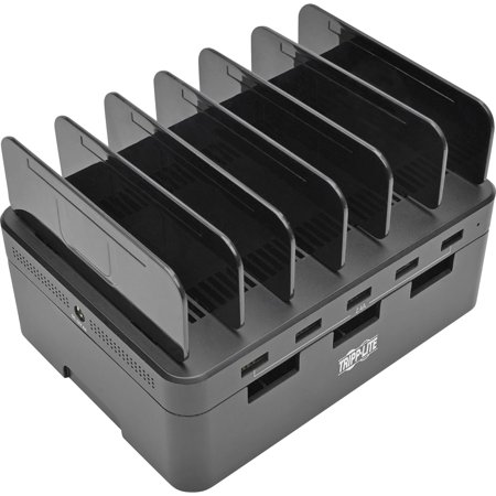 Desktop Charging Station with Cable Storage, 5 Devices, 6.6w x 4.9d x 0.79h, Black