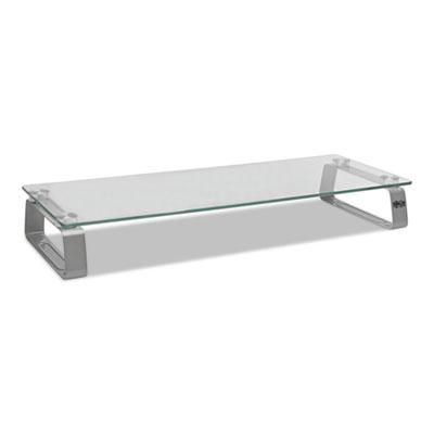 Universal Glass-Top Monitor Riser, 22w x 8d x 3h, Clear