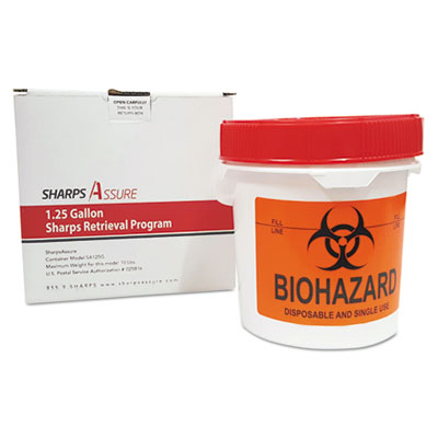 Sharps Retrieval Program Containers, 1.25 gal, Plastic, Red