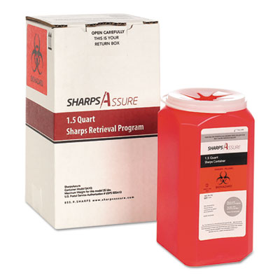 Sharps Retrieval Program Containers, 1.5 qt, Plastic, Red