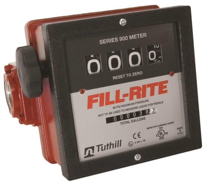 Fill-Rite 901 Mechanical Flow Meter, 6 - 40 gpm, 50 psi, 4 Digit, 1 in
