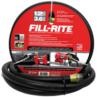 Fill-Rite FRH07512 Fuel Transfer Hose with Static Wire, Spring Guards, 3/4 in x 12 ft, NPT