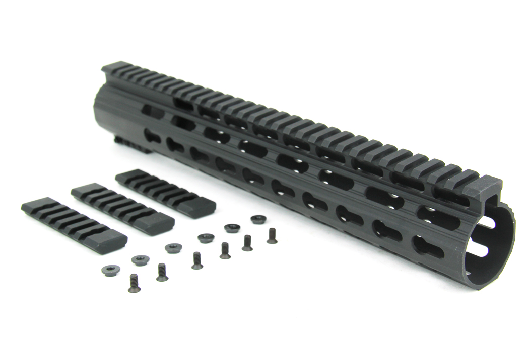 AR10 SLIM KEYMOD FREE FLOAT CLAMP-ON STYLE HAND GUARD W/DETACHABLE RAILS/12""