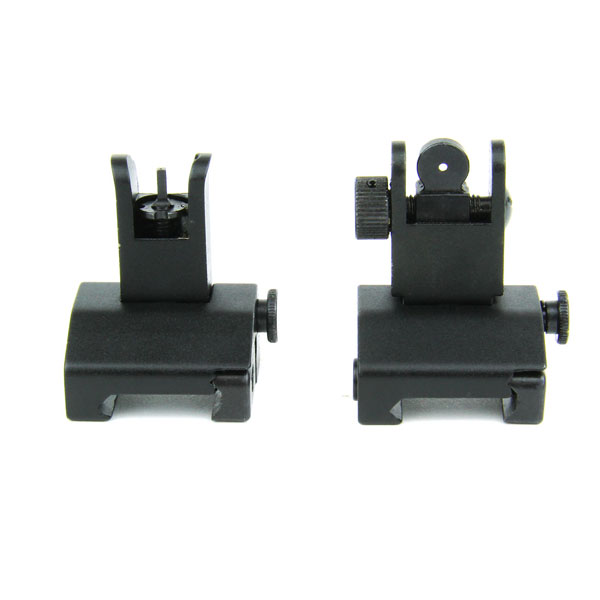 TacFire AR Front & Rear Flip-Up Iron Sights With Dual Aperature (Pair)/Spring-Loaded