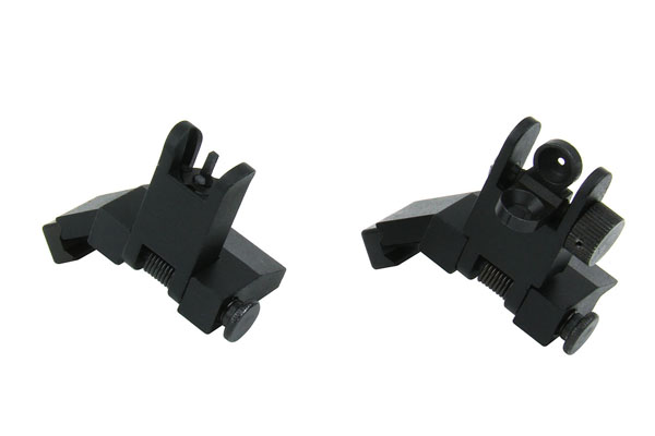 TacFire AR FRONT & REAR 45 Degree Flip-Up Iron Sights, Spring Loaded