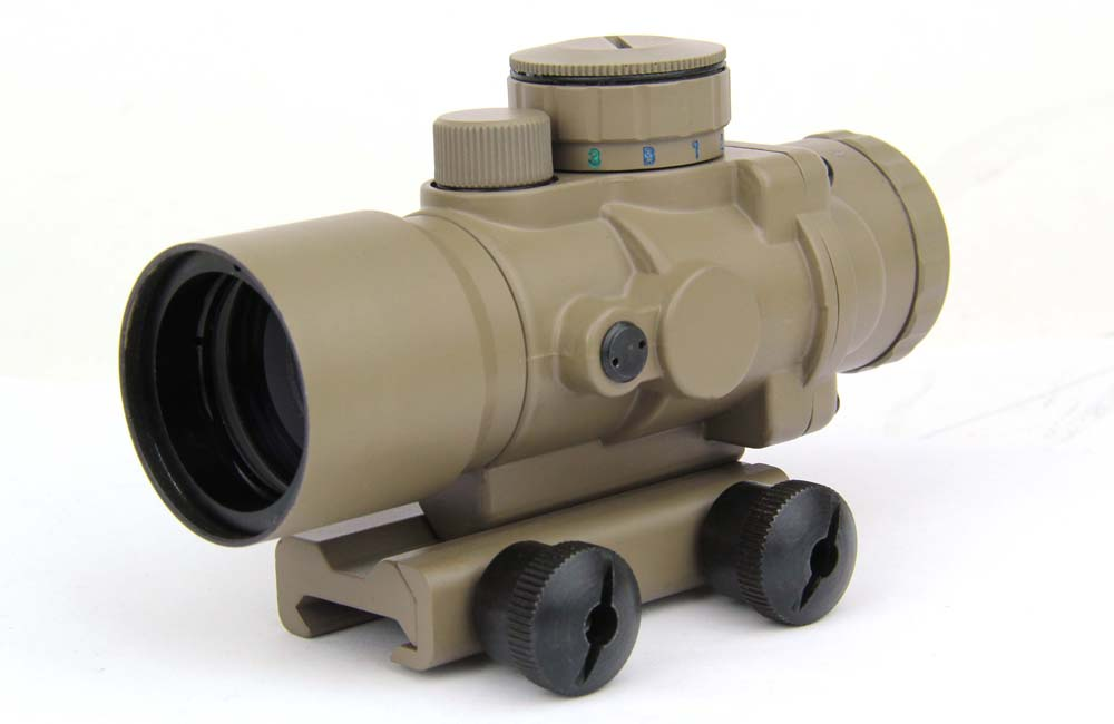 TacFire 3X30 Tactical Tri-Illuminated Ultra Compact Prismatic Scope, Vertical Cross Reticle, Dark Earth Tan