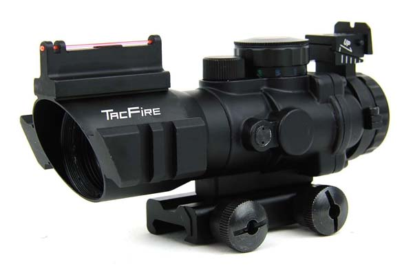 TacFire 4x32mm Tactical Compact Fiber Optic Rifle Scope Green/Red/Blue Illuminated Etched Glass, Rapid Ranging Reticle