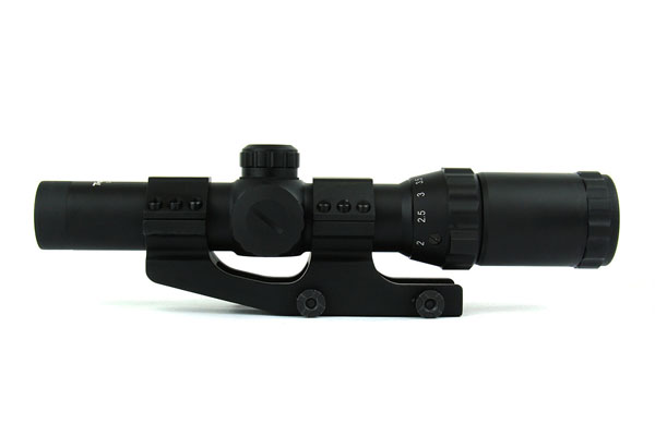 TacFire 1-4 x 24mm Tactical Rifle Scope Tri Illuminated Etched Glass Dot Reticle with 1 Piece QR Cantilever Mount