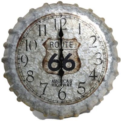 "14.2"" Metal Clock Route 66 Cap"