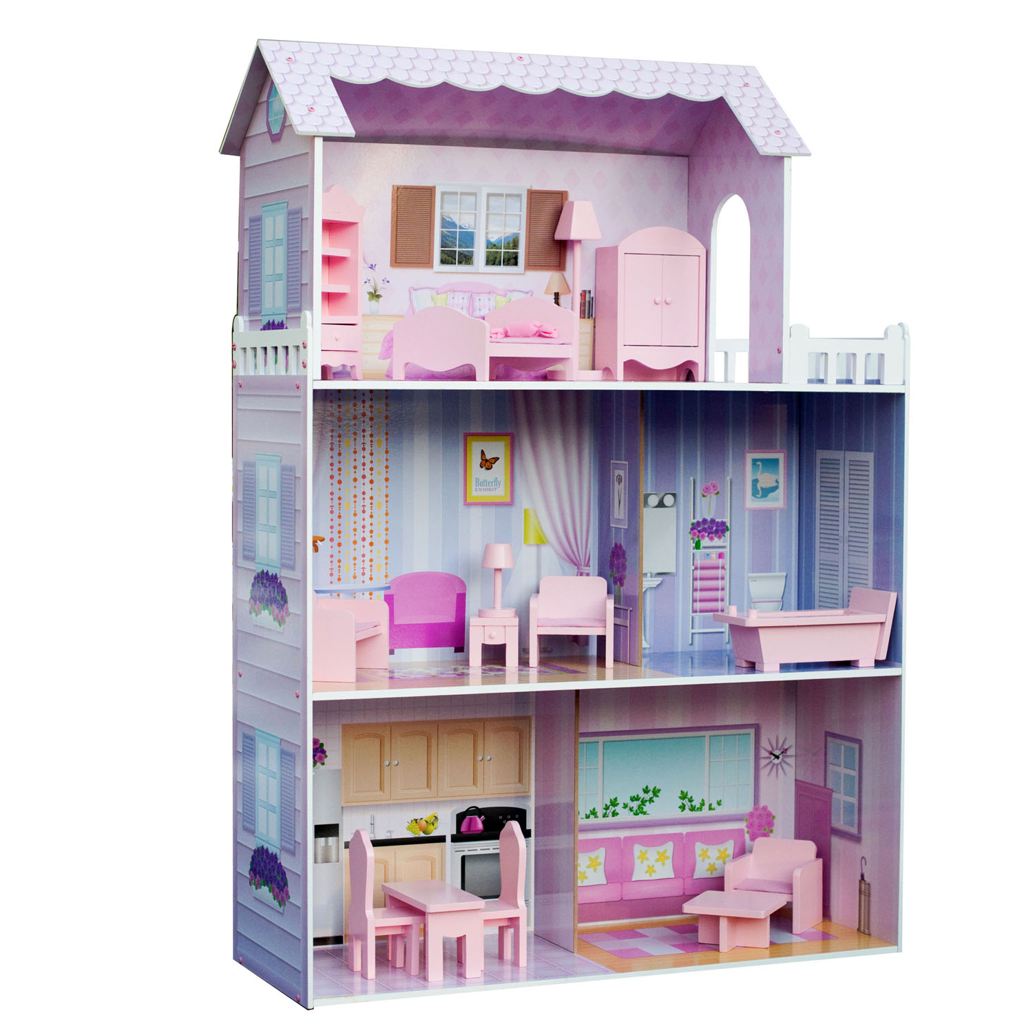 Teamson Kids Fancy Mansion Doll House (with 13pcs furniture)
