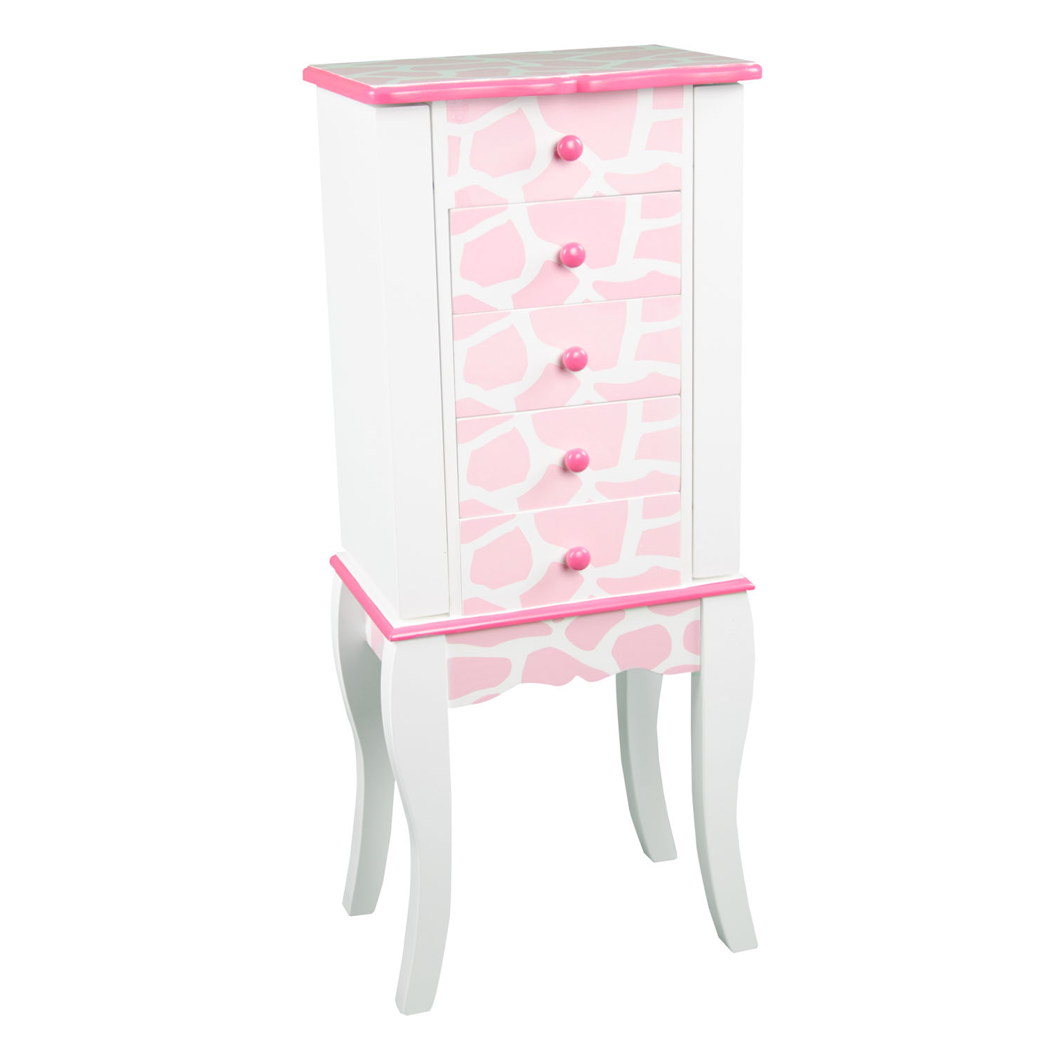 Teamson Kids Dollhouse Furniture Fashion Prints Jewelry Chest Armoire - Giraffe (Baby Pink / White)