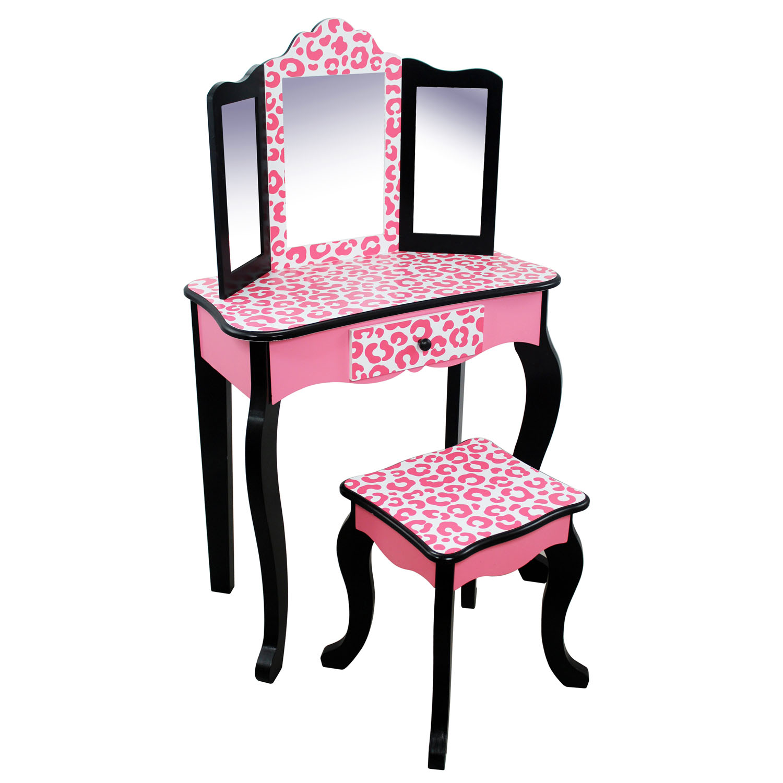 Teamson Kids Dollhouse Furniture Leopard Vanity Table and Stool Set