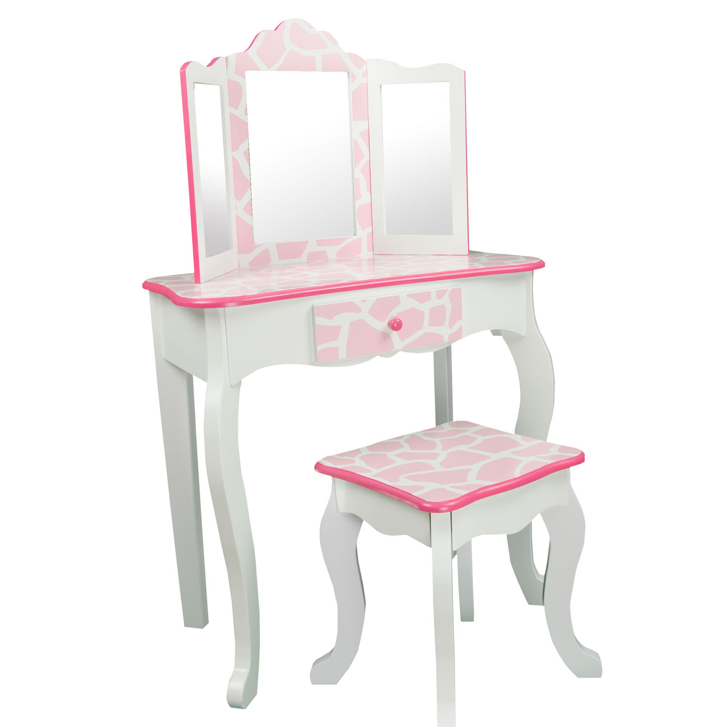 Teamson Kids Dollhouse FurnitureFashion Prints Vanity and Stool Set with Mirror - Giraffe (Baby Pink / White)