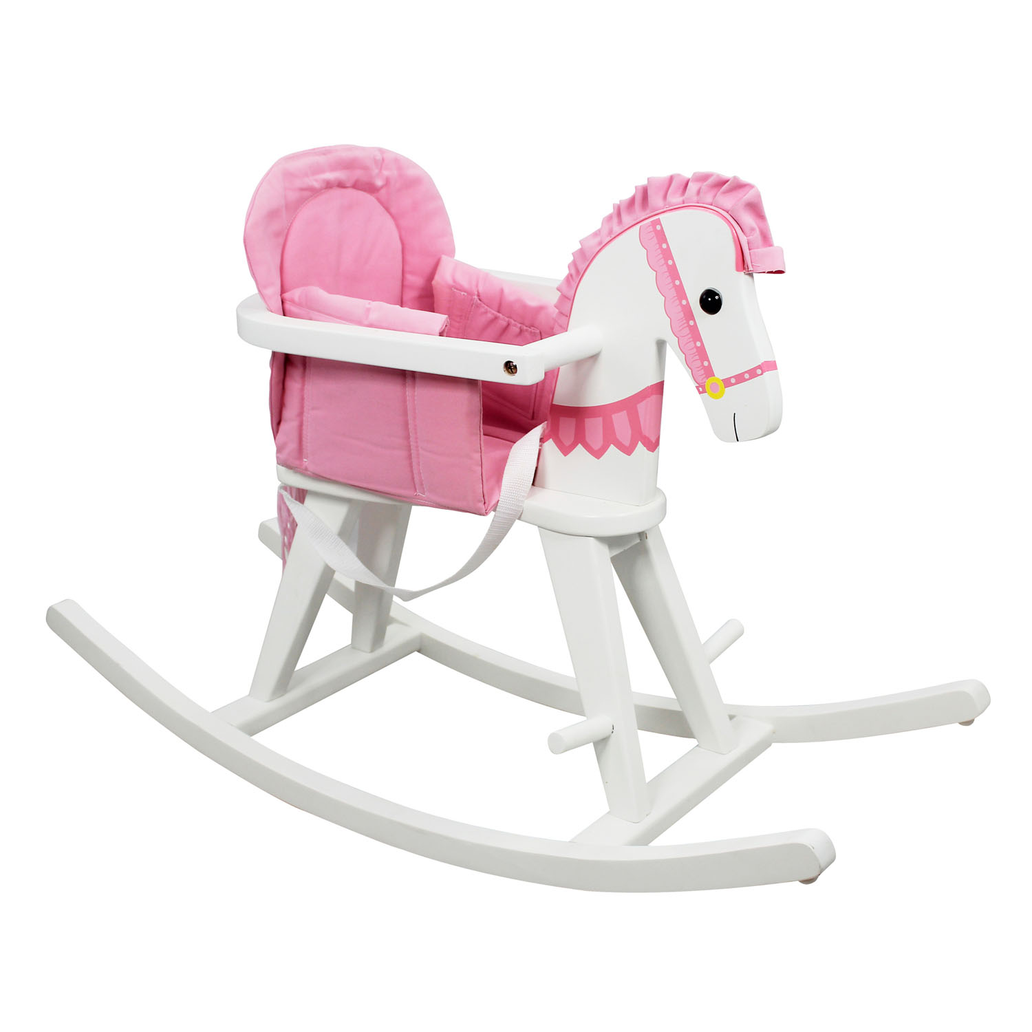 Teamson Kids Children Safari White Rocking Horse with Pink Pad