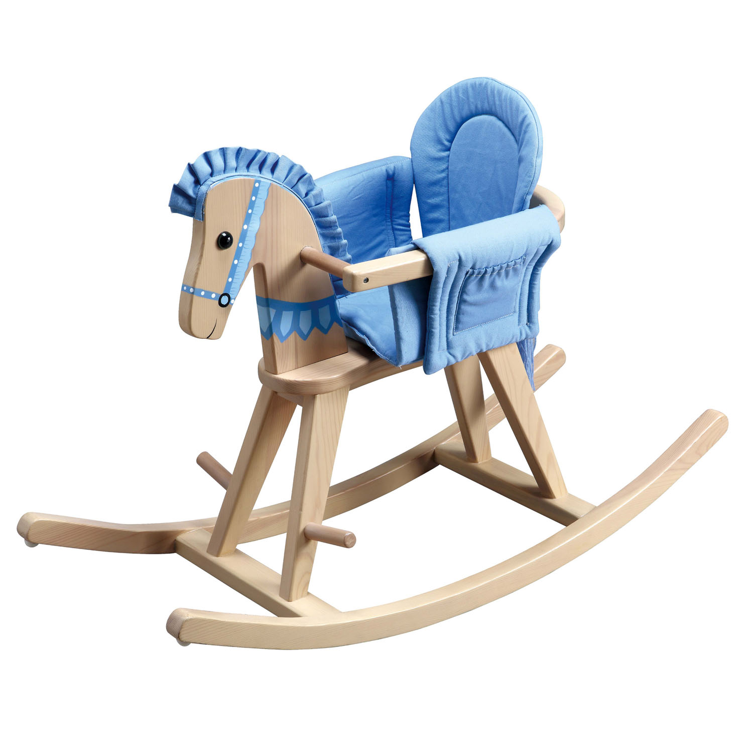 Teamson Kids Children Safari Natural Rocking Horse with Blue Pad