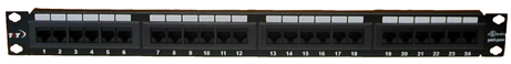 24-Port CAT5e Black Patch Panel