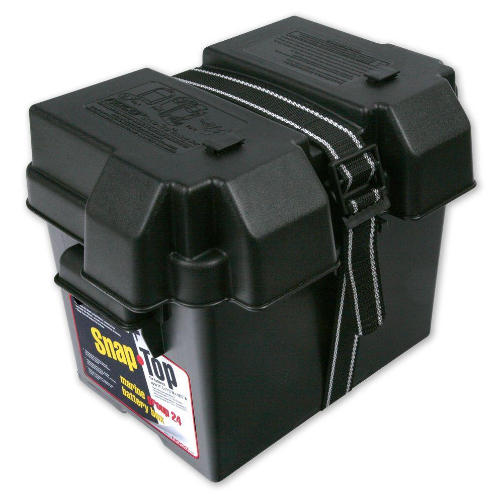 (PACK OF 6)TRAILER BATTERY BOX - POLYPROPYLENE PLASTIC, SNAP TOP LID FOR 24 SERIES BATTERY