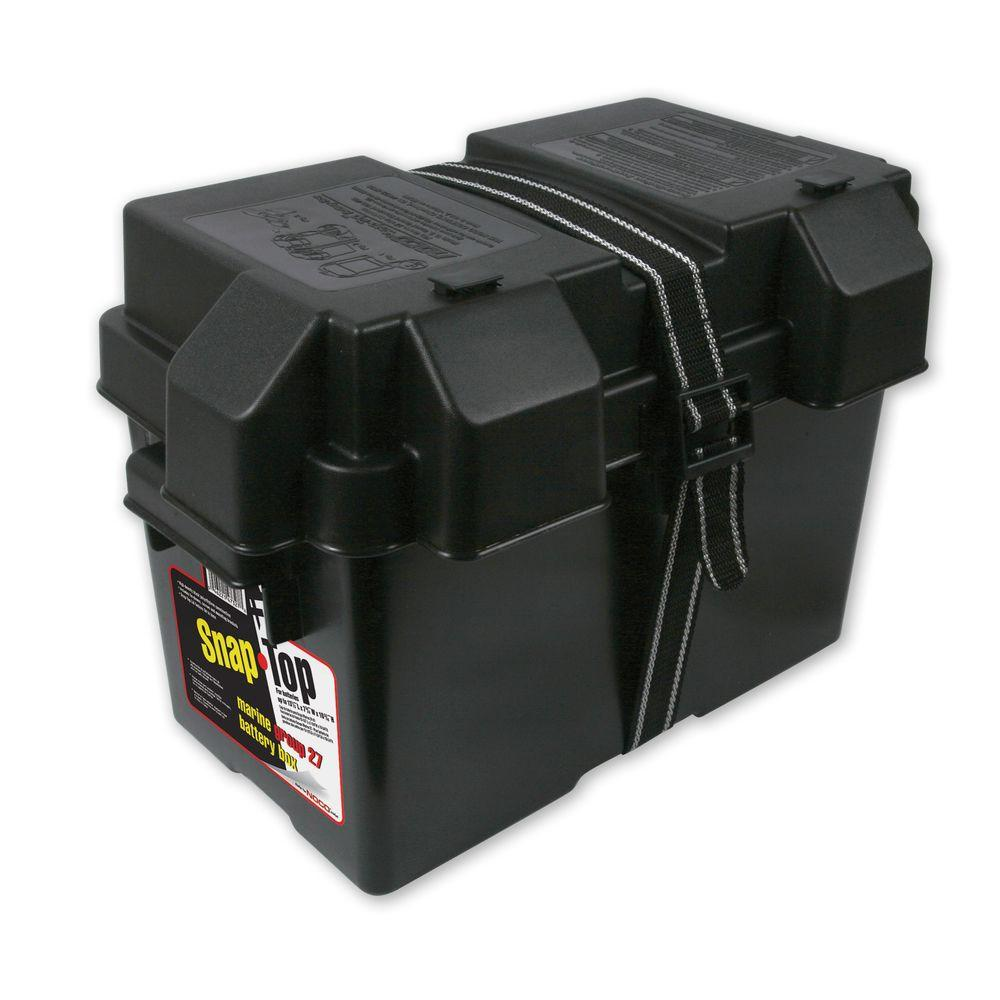 (PACK OF 6)TRAILER BATTERY BOX - POLYPROPYLENE PLASTIC, SNAP TOP LID FOR 27 SERIES BATTERY