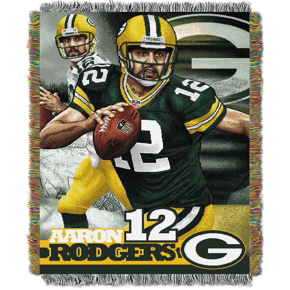 """Aaron Rodgers - Packers OFFICIAL National Football League, """"Players"""" 48""""x 60"""" Woven Tapestry Throw  by The Northwest Company"""