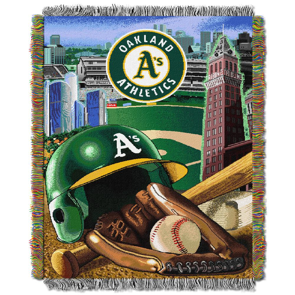 """A's OFFICIAL Major League Baseball, """"Home Field Advantage"""" 48""""x 60"""" Woven Tapestry Throw  by The Northwest Company"""