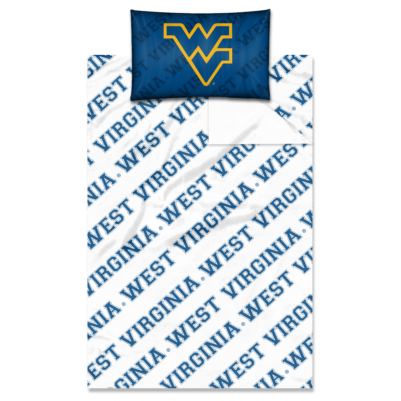 "West Virginia OFFICIAL Collegiate, Bedding Twin Sheet Set (1 Flat  66""x 96"", 1 Fitted  39""x 75"" + 12"" pocket, and 1 Pillowcase"