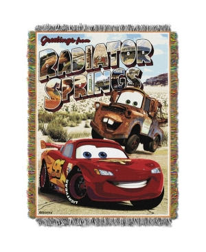 """Cars Greetings Radiator Springs Licensed 48""""x 60"""" Woven Tapestry Throw  by The Northwest Company"""