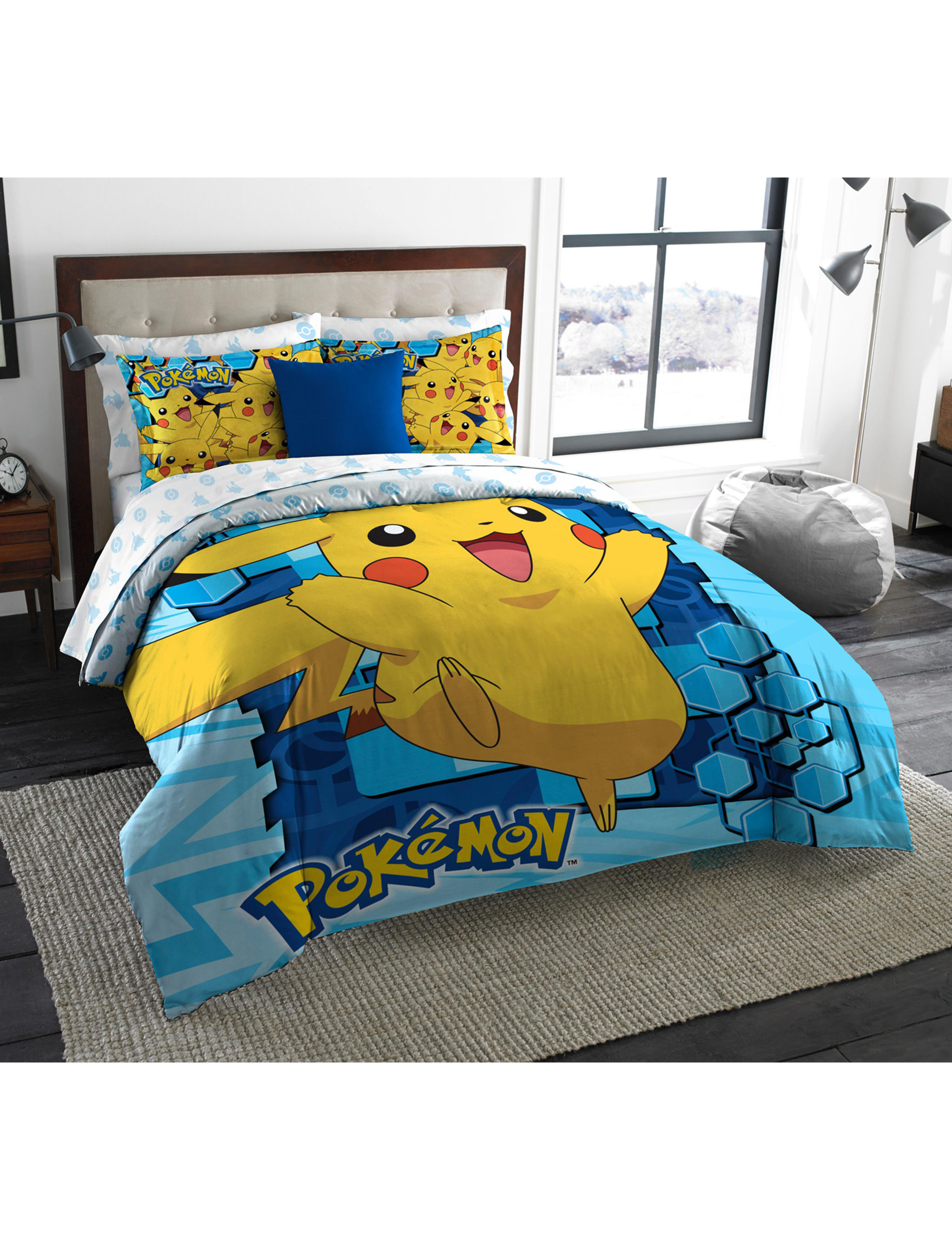 "Pokeman Big Pika Licensed Bedding, Twin/Full Comforter (72""x 86"") & 2 Shams (20""x 30"") Set  by The Northwest Company"