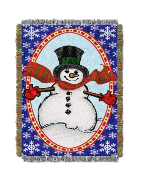 """Bright Happy Snowman  Licensed Holiday 48""""x 60"""" Woven Tapestry Throw  by The Northwest Company"""