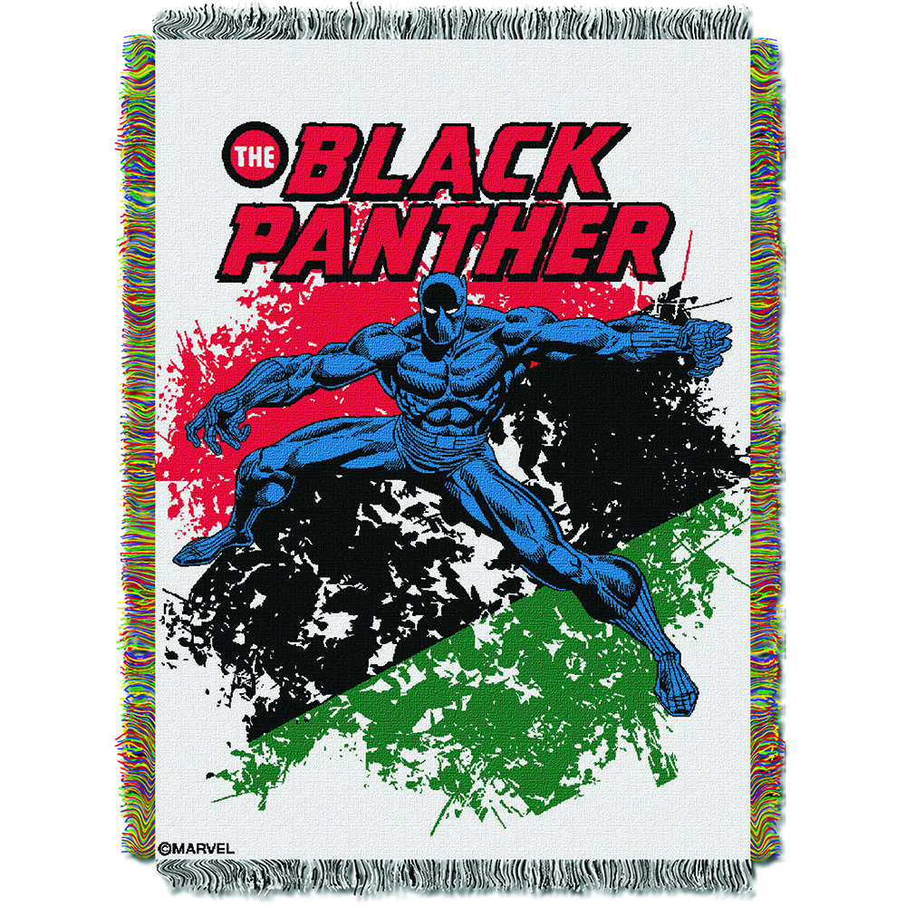 """Black Panther - Panther Defend Licensed 48""""x 60"""" Woven Tapestry Throw  by The Northwest Company"""